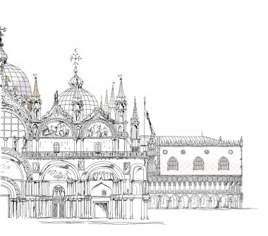 Venice illustration, Doge's palace and San Marco basilica, Sketch collection