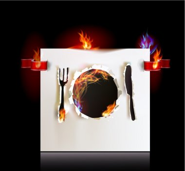 Template for menu, palate knife and fork, Ripped paper collection and flames