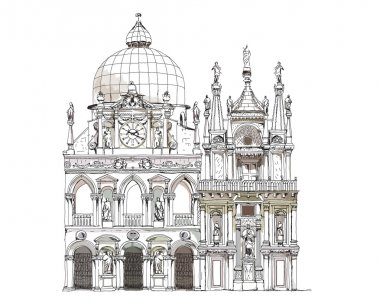 Venice illustration, Goge's court yard,  Sketch collection