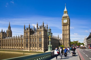 LONDON, UK - MAY 14, 2014: Big Ben and houses of Parliament on the river Thames, London UK