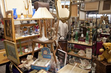 LONDON, UK - MAY 15, 2014: Antique display Greenwich market. Famous place to buy an art, crafts, antiques etc.