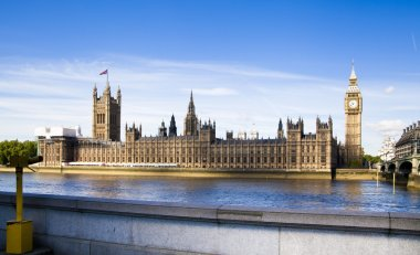 LONDON, UK - JULY 14, 2014: Big Ben, Houses of parliament and Westminster bridge on river Thames