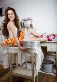 Fotografie verrückte Hausfrau in der Küche