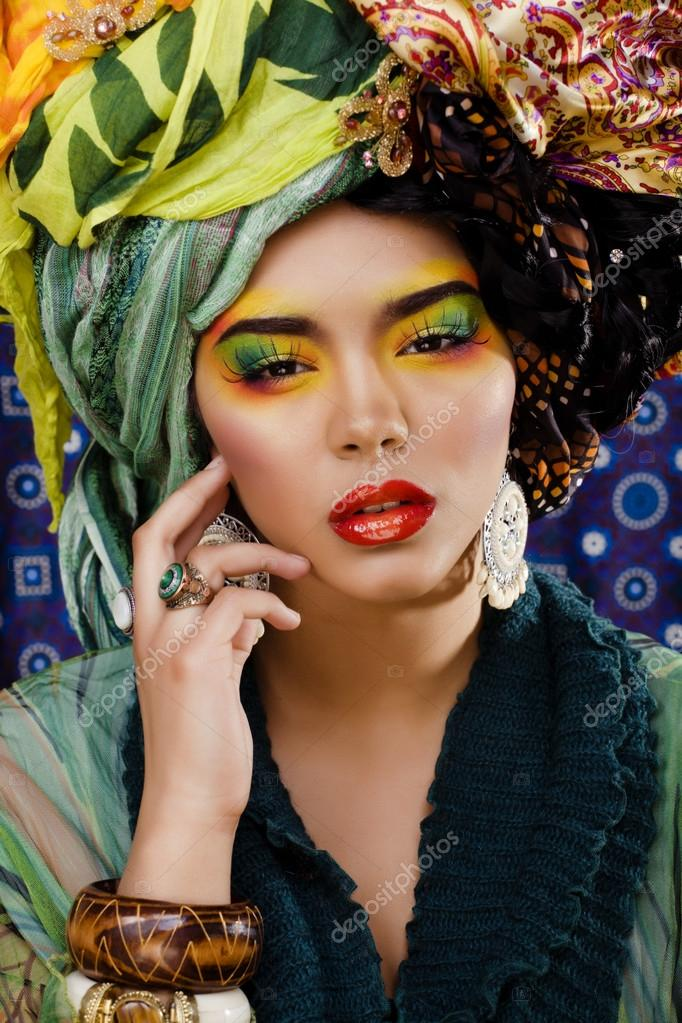Beauty bright woman with creative make up