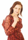 Fotografie junge hübsche Frau im Studio mit kleiner Geldbörse