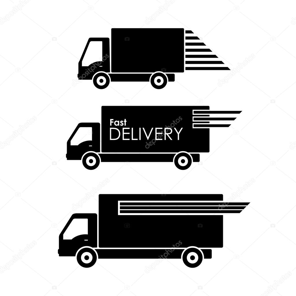 Delivery Transportation Symbol On White Background Stock Vector