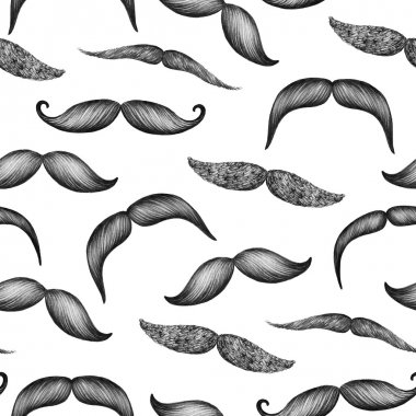 Mustache hand drawn seamless pattern