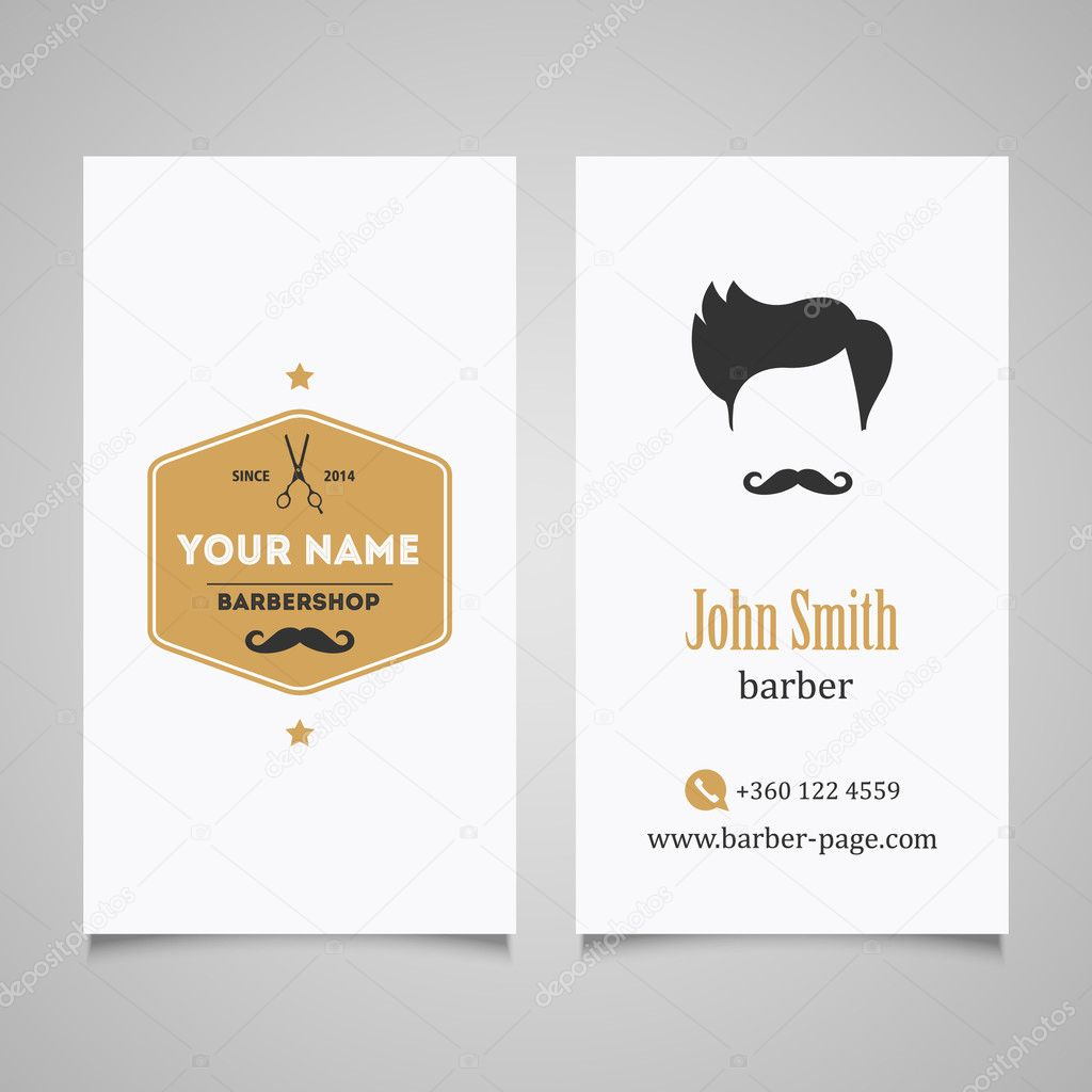 Hair salon barber shop business card design template stock vector template for hair salon barber shop business card vector by lublubachka reheart Choice Image
