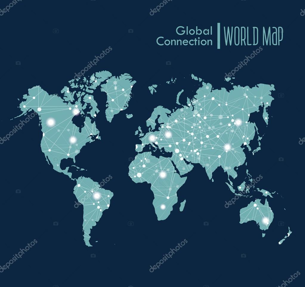 Infographic blue world map symbol with global network connections infographic blue world map symbol with global network connections stock vector biocorpaavc Images