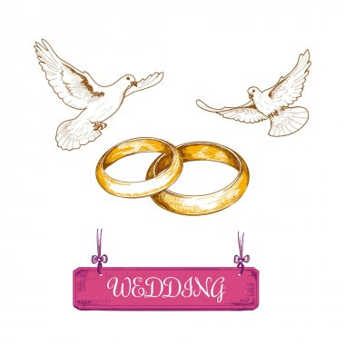 Wedding rings and pigeons