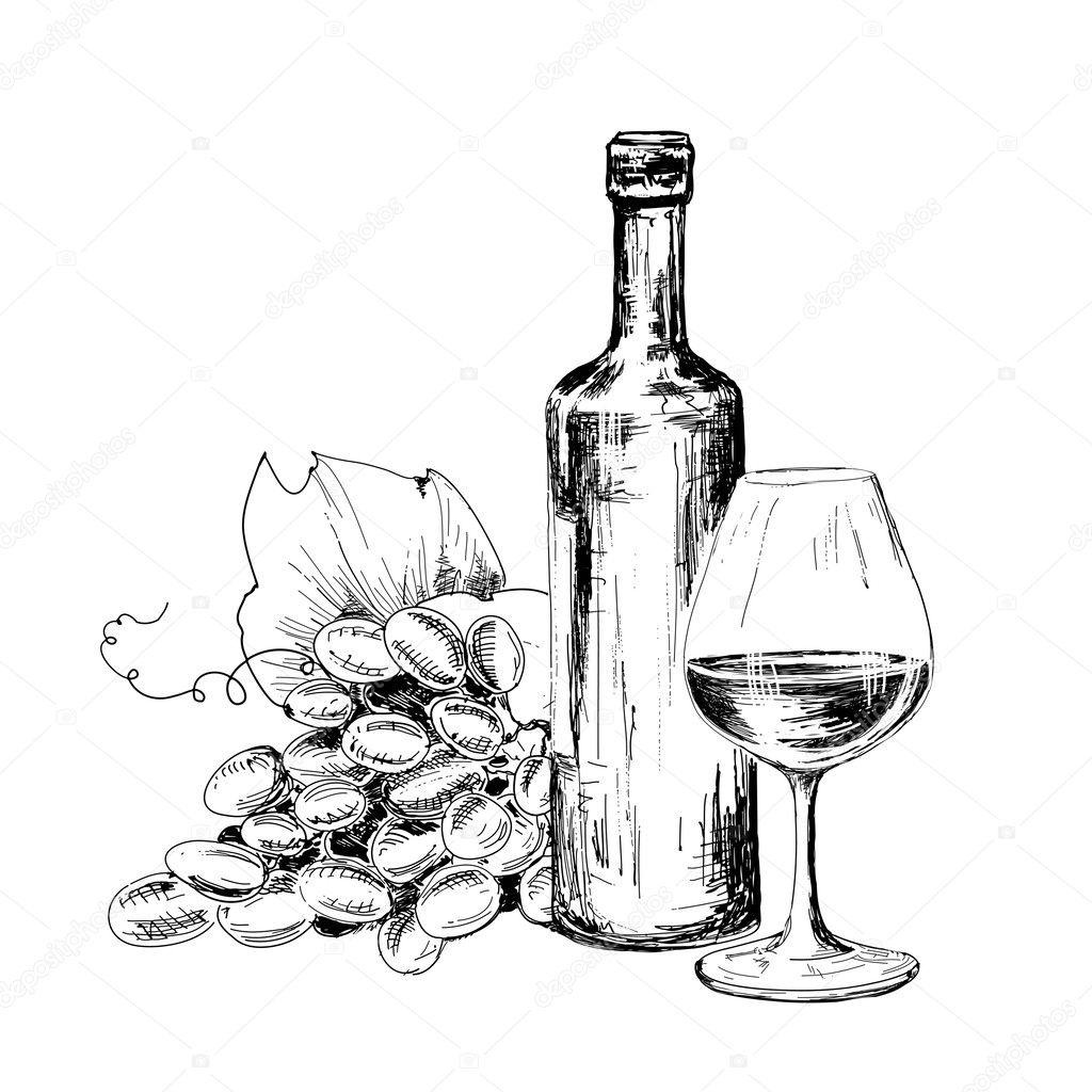 flasche wein glas und trauben — stockvektor © alenakaz