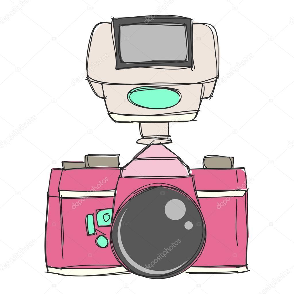 手描き下ろしカメラ クリップアート ・ ベクター ファイル — ストック
