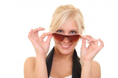 portrait of a cheerful girl in sunglasses