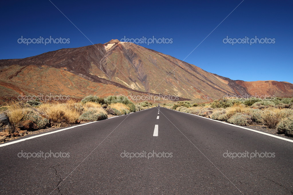 Straight road with El Teide in the background, Tenerife, Canary Islands.