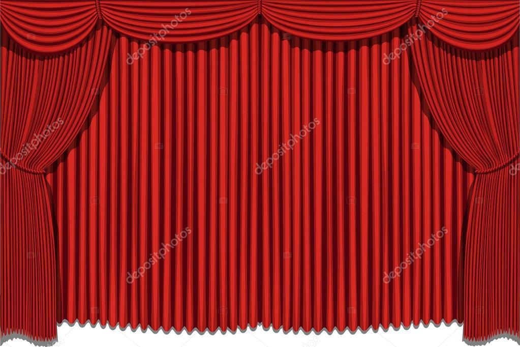 cortinas rojas vector de stock - Cortinas Rojas