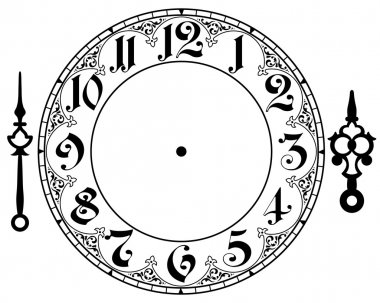 Vector vintage clock on white . Illustration clip art stock vector