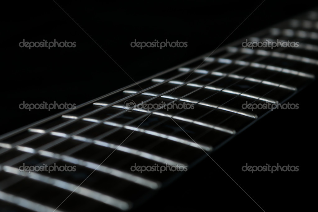 Guitar Fretboard Close Up Stock Photo