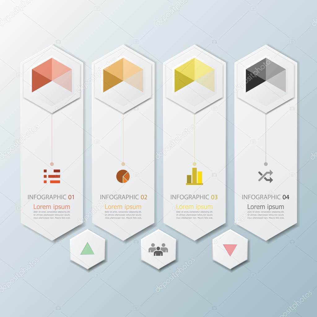 Hexagon Geometric Shape Infographic Design Template