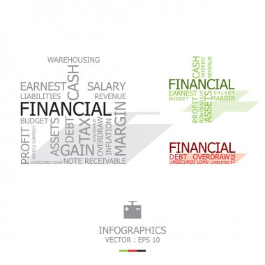 Financial's Words With Time Bomb Shape clip art vector
