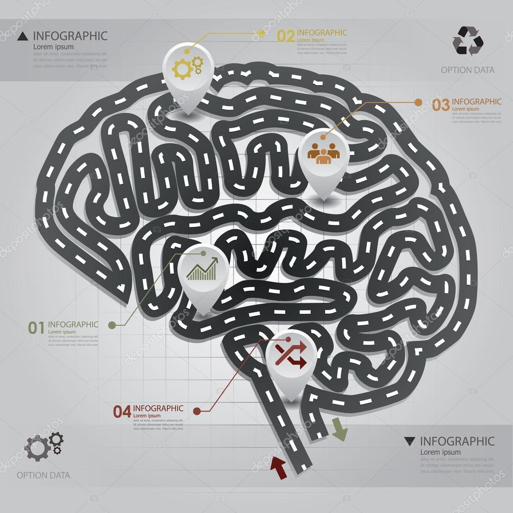 Road & Street Business Infographic Brain Shape Design Template