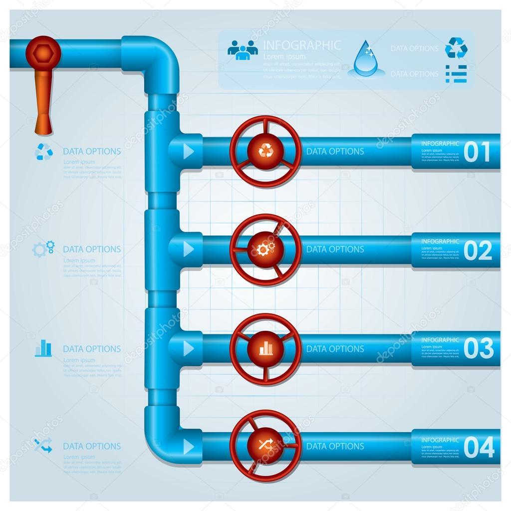 plantilla de diseño de tubería de agua negocio infografía — Archivo ...