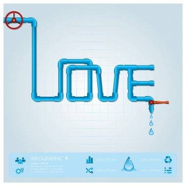 Water Pipe Business Infographic For Valentine Day Design Templat
