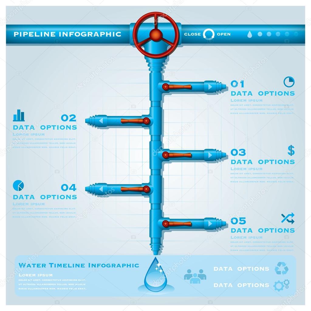 plantilla de diseño de tubería de agua negocio infografía timeline ...