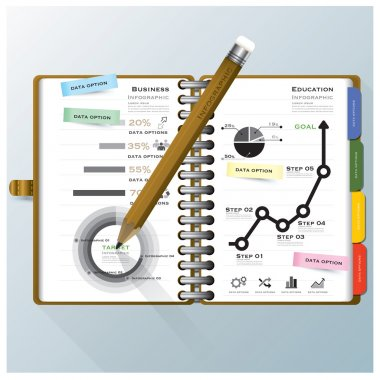 Organize Notebook Business And Education Infographic Design Template clip art vector