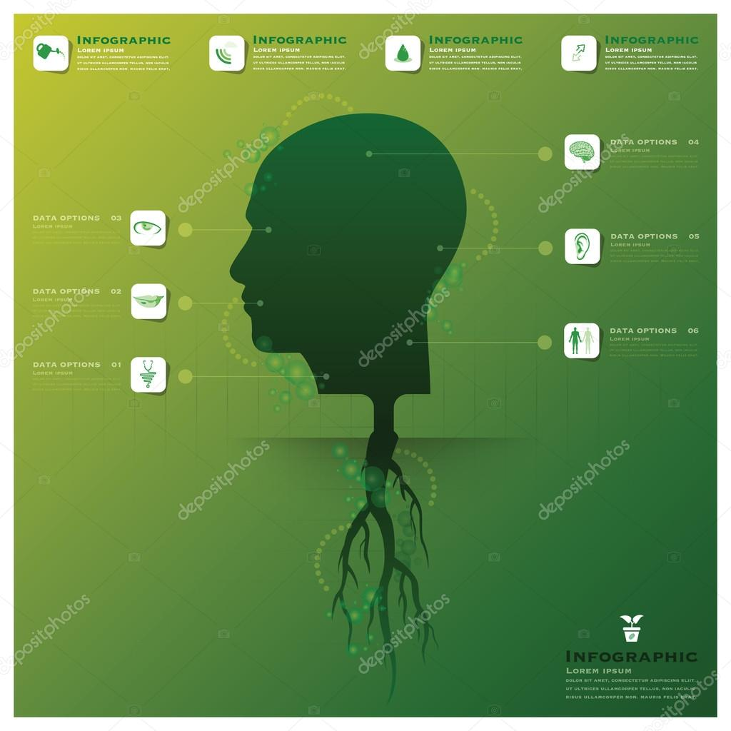 Head Tree And Root Infographic Design Template