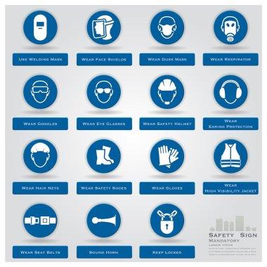 Mandatory Safety Sign Icons Set