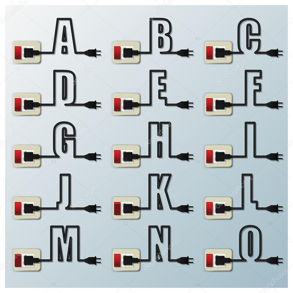 Alphabete Zeichen Buchstaben elektrischer Draht Linie — Stockvektor ...