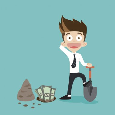 businessman dig some money vector illusion