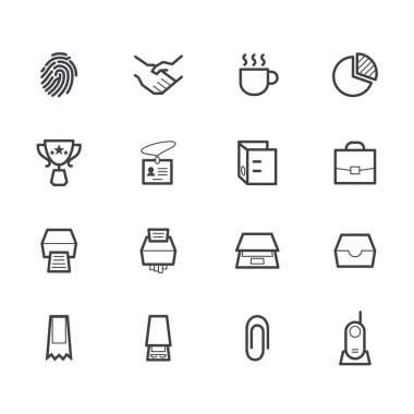 Office black icon set on white background