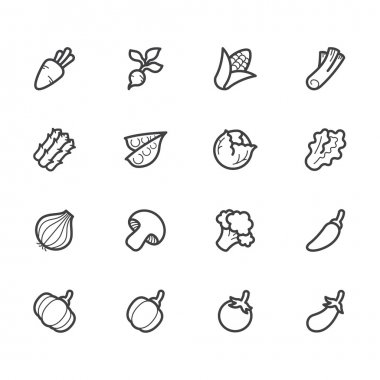 Vegetable vector icon set on white background