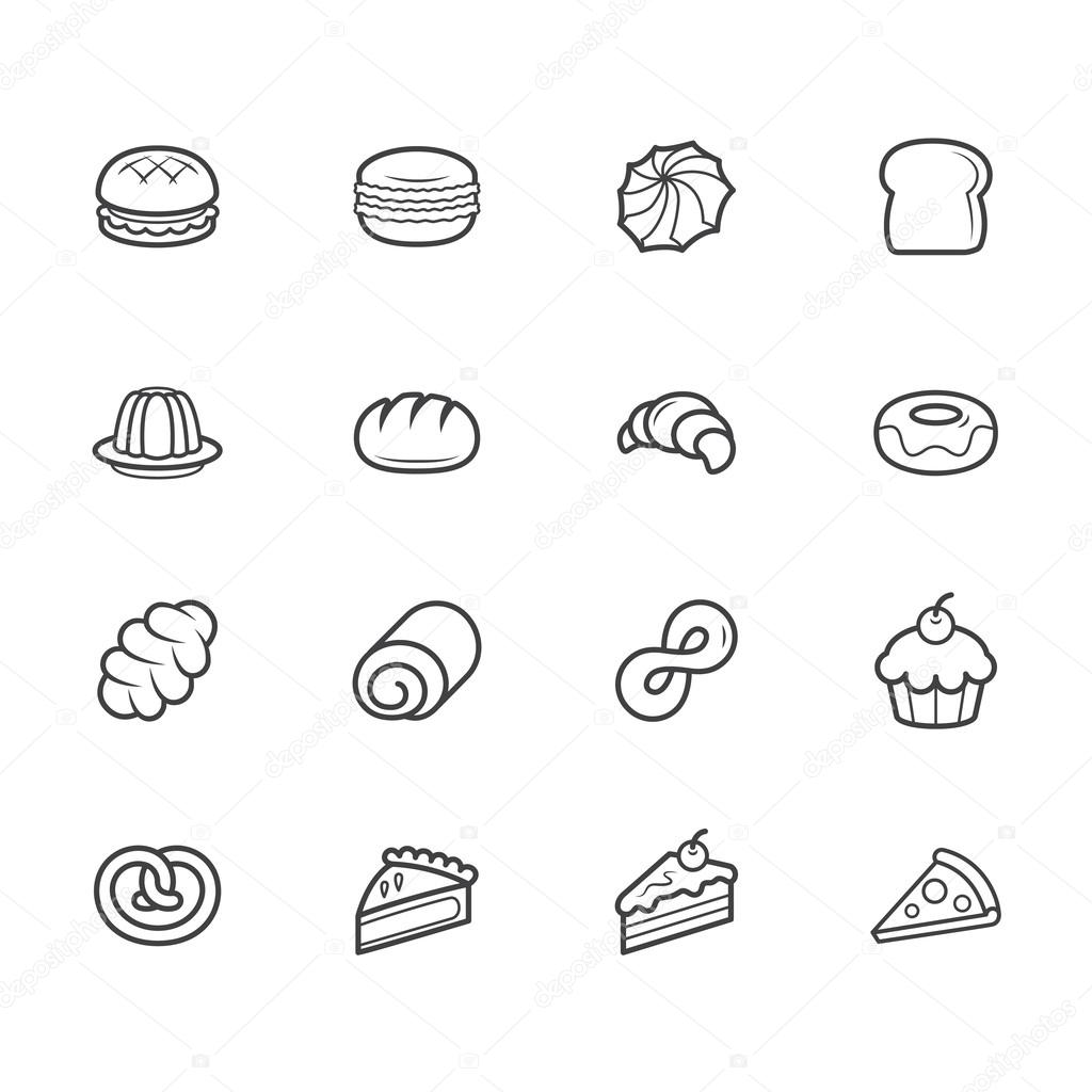 Set of bakery vecter black icon set on white background