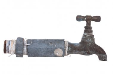 Old Water Faucet, isolate on white background.