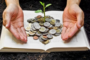 Hands caring tree growing from books with coins
