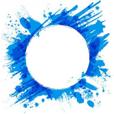 Blue vector background with brush strokes and splashes.