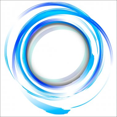 Blue abstract design element with brush strokes.