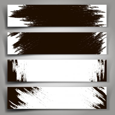 Set of vector black and white banners with brush strokes.