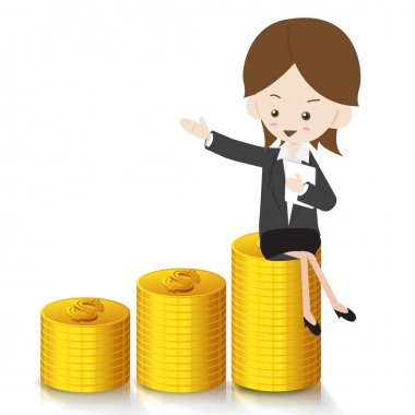 Business woman with growing Money