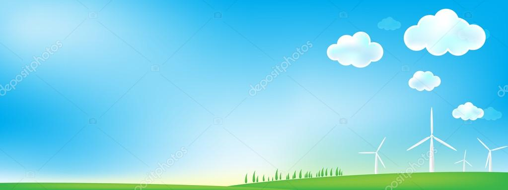 Sky and grass wind mill background
