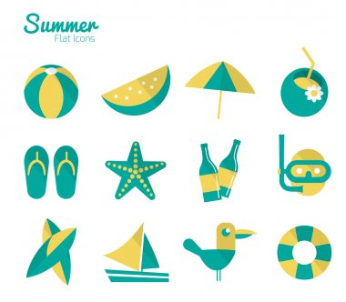 Summer on the beach Icons set.