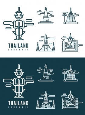 Thailand landmarks. flat design element.