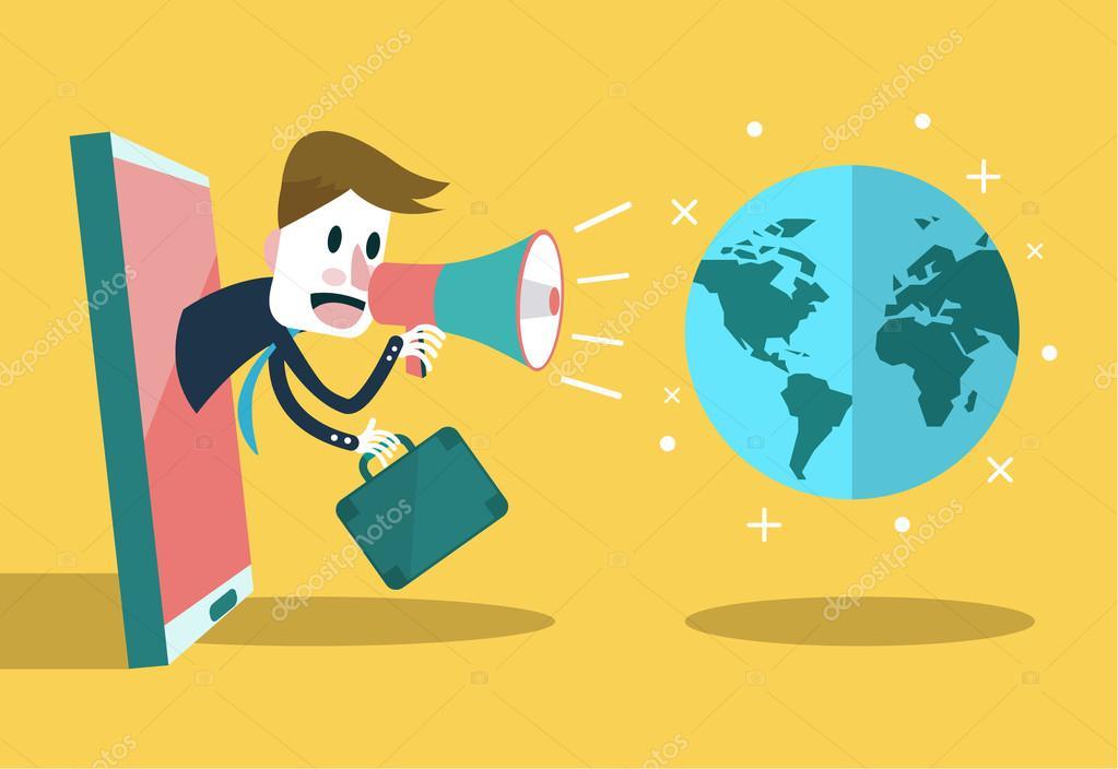 Businessman use loudspeaker talk to the world.