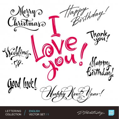 ENGLISH greetings hand lettering set 1 (vector)