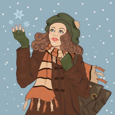Illustration of beautiful girl catching snowflakes