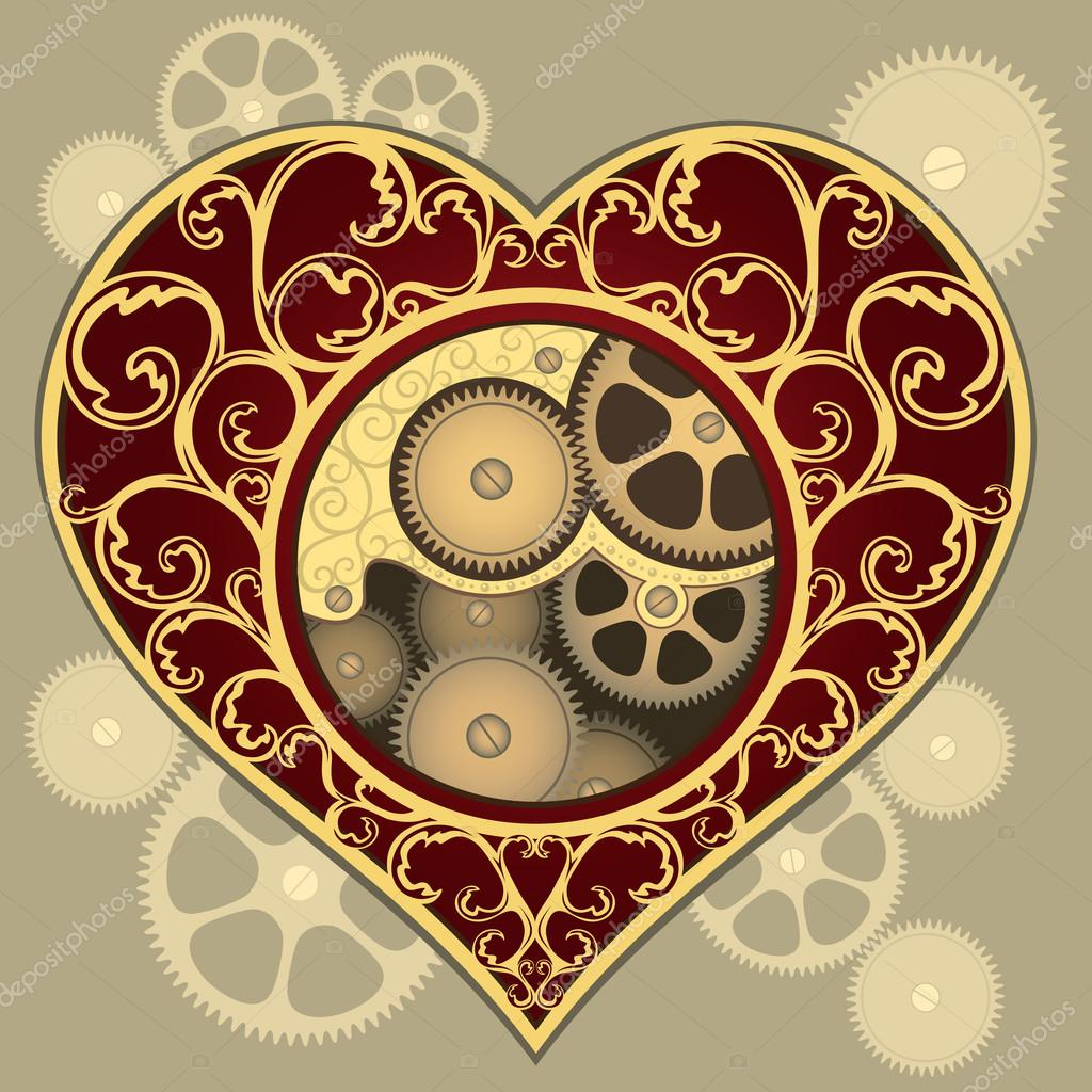 Illustration of heart with the mechanism inside