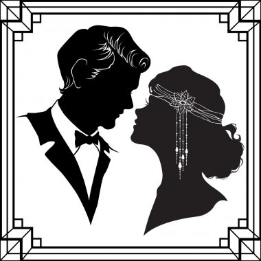 Silhouette of couple in retro style isolated on white background stock vector