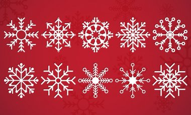 Snow Flake Vector on a deep red background beautifully displayed in pack of ten illustrated snowflakes